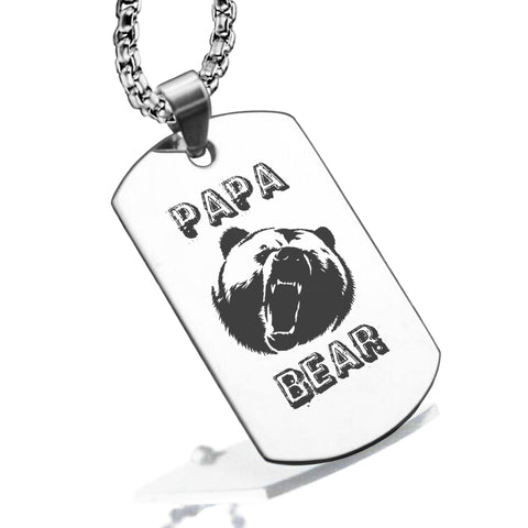 Stainless Steel Papa Bear Dog Tag Pendant - Comfort Zone Studios