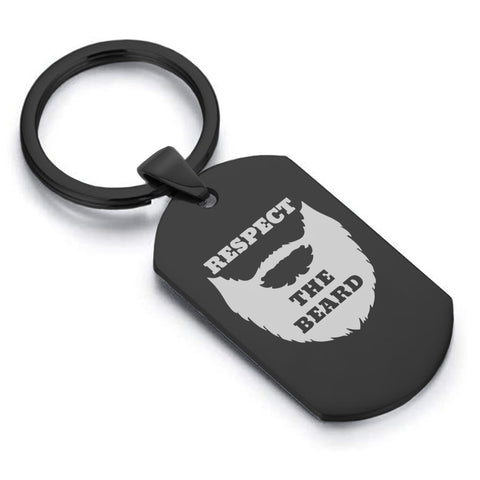 Stainless Steel Respect the Beard Dog Tag Keychain - Comfort Zone Studios