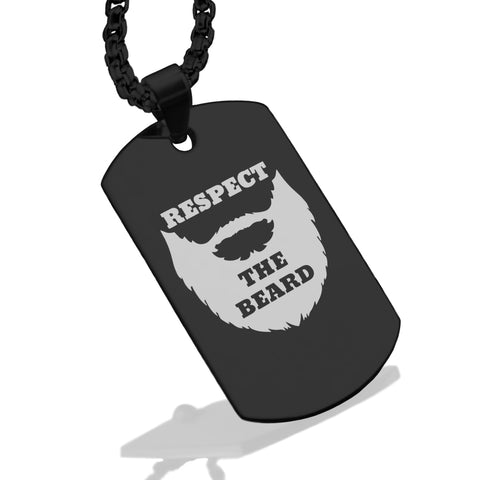 Stainless Steel Respect the Beard Dog Tag Pendant - Comfort Zone Studios