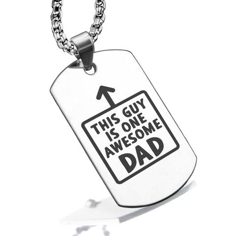 Stainless Steel Awesome Dad Dog Tag Pendant - Comfort Zone Studios
