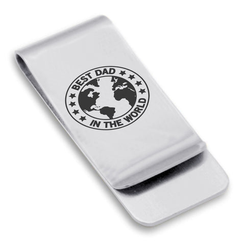 Stainless Steel World's Best Dad Classic Slim Money Clip