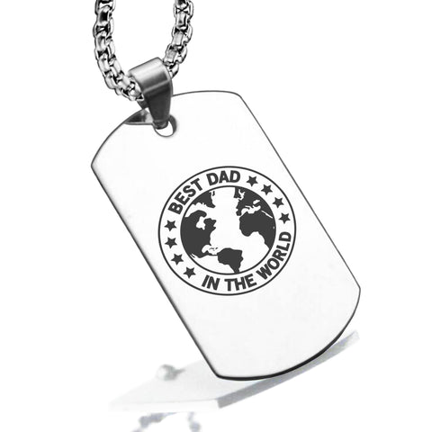 Stainless Steel World's Best Dad Dog Tag Pendant - Comfort Zone Studios