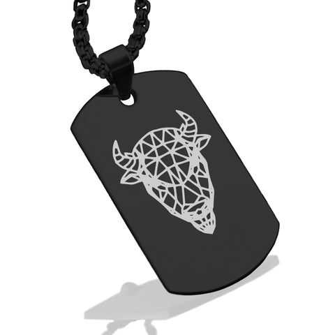 Stainless Steel Geometric Polygon Bison Dog Tag Pendant - Comfort Zone Studios