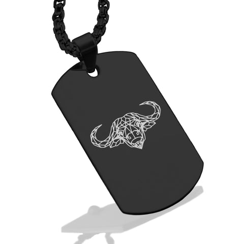 Stainless Steel Geometric Polygon Buffalo Dog Tag Pendant - Comfort Zone Studios