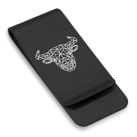 Stainless Steel Geometric Polygon Bull Classic Slim Money Clip