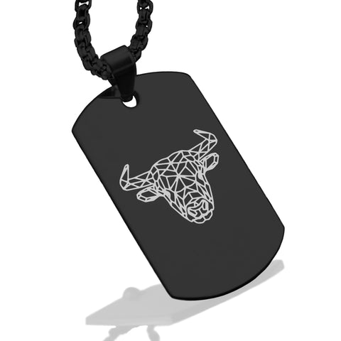 Stainless Steel Geometric Polygon Bull Dog Tag Pendant - Comfort Zone Studios