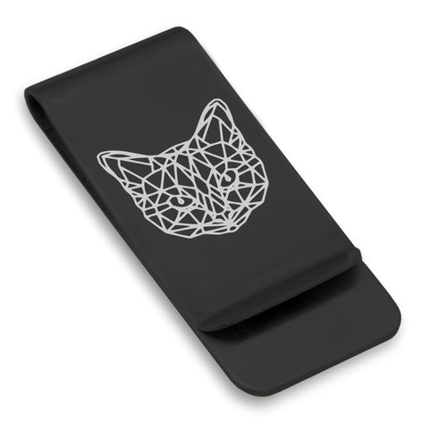 Stainless Steel Geometric Polygon Cat Classic Slim Money Clip