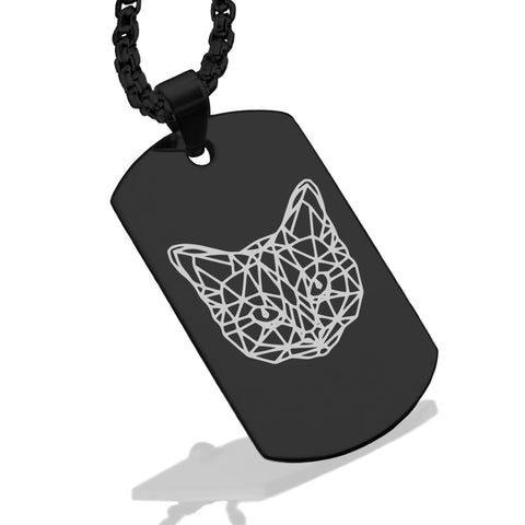 Stainless Steel Geometric Polygon Cat Dog Tag Pendant - Comfort Zone Studios