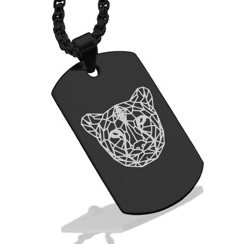 Stainless Steel Geometric Polygon Cheetah Dog Tag Pendant - Comfort Zone Studios