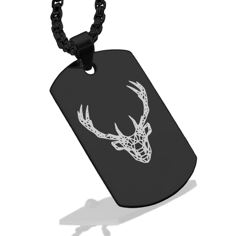 Stainless Steel Geometric Polygon Deer Dog Tag Pendant - Comfort Zone Studios