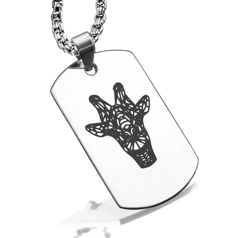 Stainless Steel Geometric Polygon Giraffe Dog Tag Pendant - Comfort Zone Studios