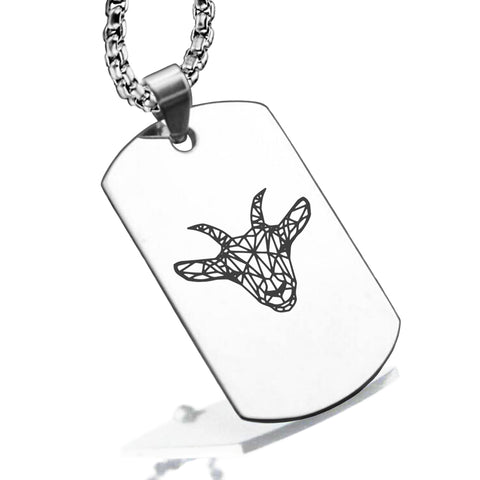 Stainless Steel Geometric Polygon Goat Dog Tag Pendant - Comfort Zone Studios