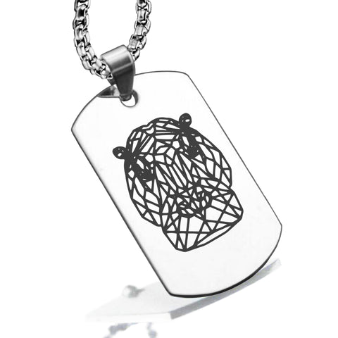 Stainless Steel Geometric Polygon Hippo Dog Tag Pendant - Comfort Zone Studios