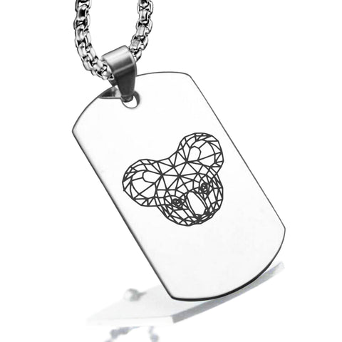 Stainless Steel Geometric Polygon Koala Dog Tag Pendant - Comfort Zone Studios