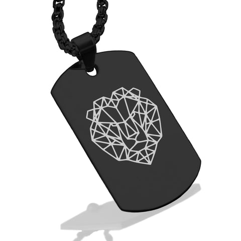 Stainless Steel Geometric Polygon Lion Dog Tag Pendant - Comfort Zone Studios