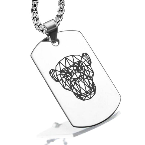 Stainless Steel Geometric Polygon Monkey Dog Tag Pendant - Comfort Zone Studios