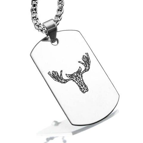 Stainless Steel Geometric Polygon Moose Dog Tag Pendant - Comfort Zone Studios