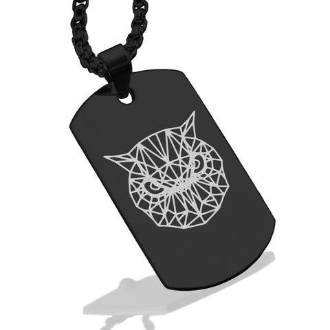 Stainless Steel Geometric Polygon Owl Dog Tag Pendant - Comfort Zone Studios