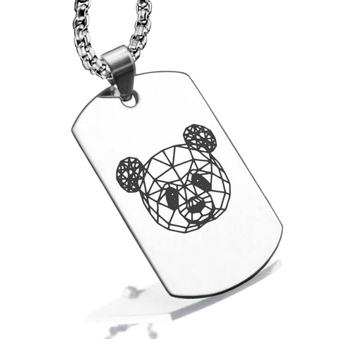 Stainless Steel Geometric Polygon Panda Dog Tag Pendant - Comfort Zone Studios
