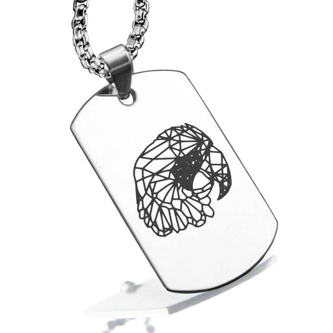 Stainless Steel Geometric Polygon Parrot Dog Tag Pendant - Comfort Zone Studios