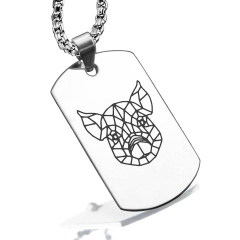 Stainless Steel Geometric Polygon Pig Dog Tag Pendant - Comfort Zone Studios