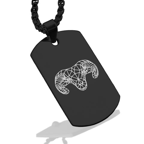 Stainless Steel Geometric Polygon Ram Dog Tag Pendant - Comfort Zone Studios