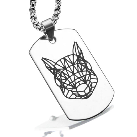Stainless Steel Geometric Polygon Squirrel Dog Tag Pendant - Comfort Zone Studios