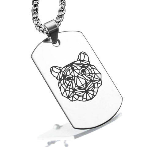 Stainless Steel Geometric Polygon Tiger Dog Tag Pendant - Comfort Zone Studios