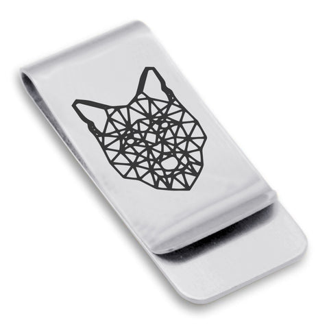 Stainless Steel Geometric Polygon Wolf Classic Slim Money Clip