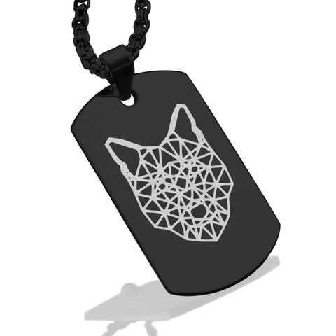Stainless Steel Geometric Polygon Wolf Dog Tag Pendant - Comfort Zone Studios