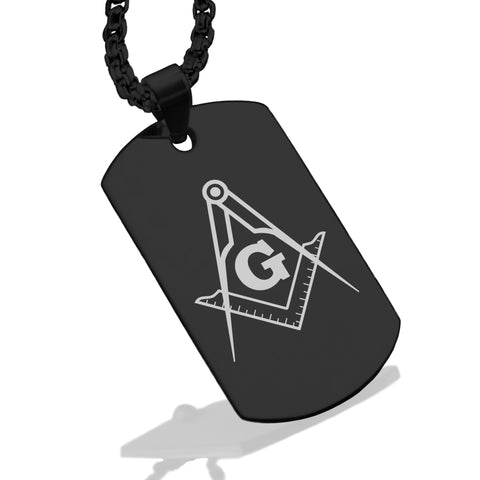 Stainless Steel Masonic Square and Compass Symbol Dog Tag Pendant - Comfort Zone Studios