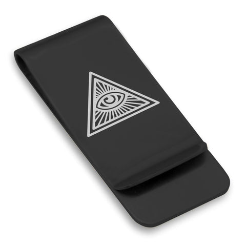 Stainless Steel Masonic All Seeing Eye Symbol Classic Slim Money Clip