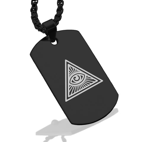 Stainless Steel Masonic All Seeing Eye Symbol Dog Tag Pendant - Comfort Zone Studios