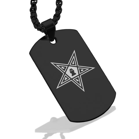 Stainless Steel Masonic Blazing Eastern Star Symbol Dog Tag Pendant - Comfort Zone Studios