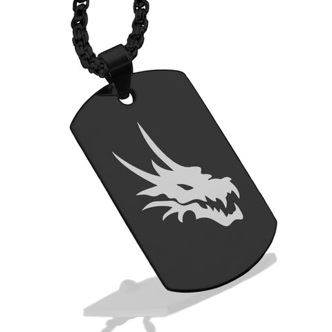 Stainless Steel Mythical Dragon Head Dog Tag Pendant - Comfort Zone Studios