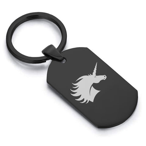 Stainless Steel Mythical Unicorn Head Dog Tag Keychain - Comfort Zone Studios