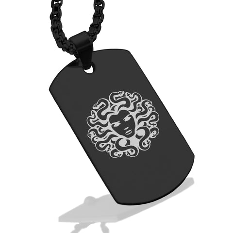 Stainless Steel Mythical Medusa Head Dog Tag Pendant - Comfort Zone Studios