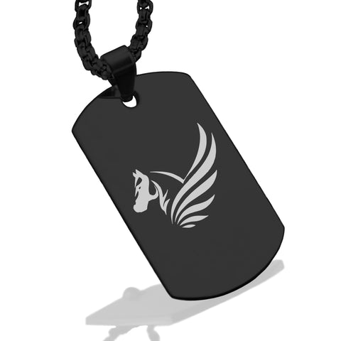 Stainless Steel Mythical Pegasus Head Dog Tag Pendant - Comfort Zone Studios