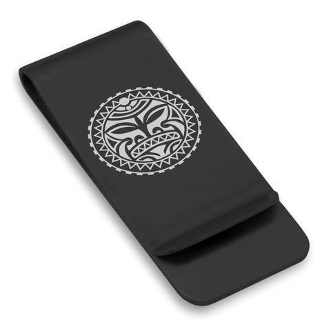Stainless Steel Sun Maori Symbol Classic Slim Money Clip