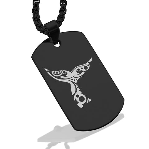 Stainless Steel Whale Tail Maori Symbol Dog Tag Pendant - Comfort Zone Studios
