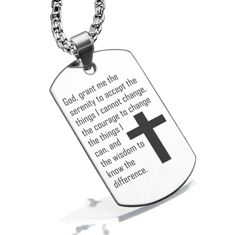 Stainless Steel The Serenity Prayer Dog Tag Pendant