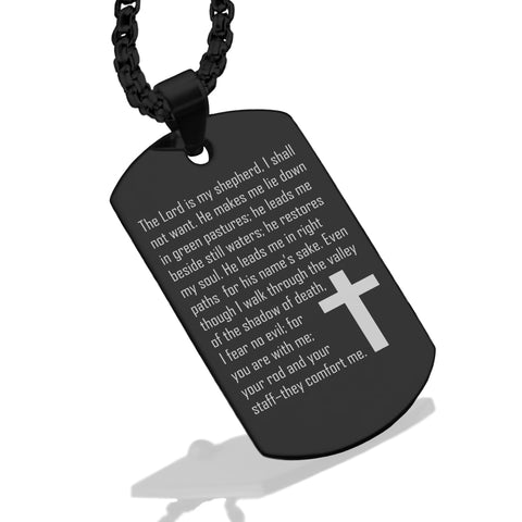 Stainless Steel The Lord Is My Shepherd Prayer Dog Tag Pendant