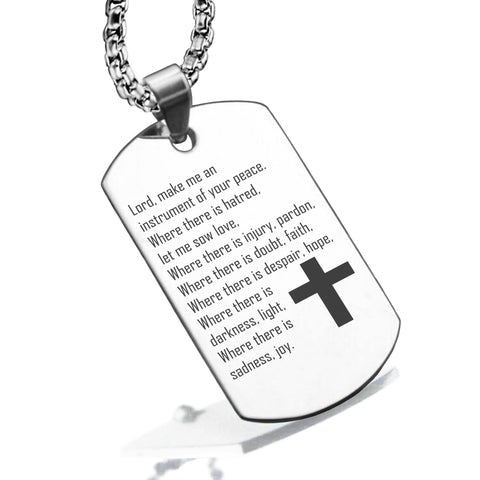 Stainless Steel Instrument of Your Peace Prayer Dog Tag Pendant