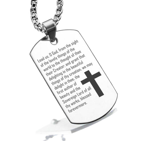 Stainless Steel Lead Us Prayer Dog Tag Pendant