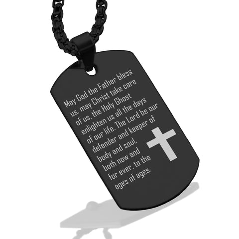 Stainless Steel Trinity Prayer Dog Tag Pendant