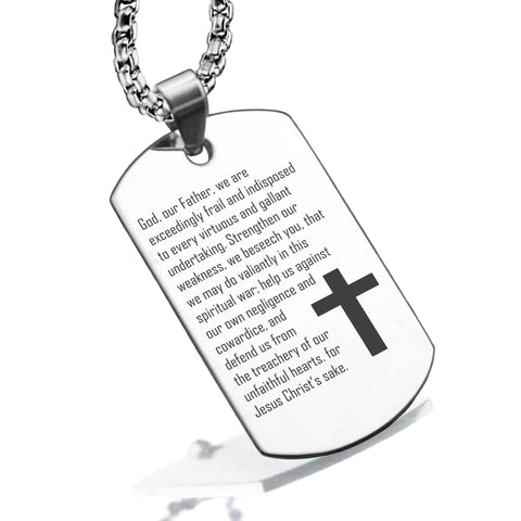 Stainless Steel Strengthen Us Prayer Dog Tag Pendant