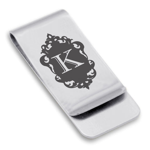 Stainless Steel Royal Crest Alphabet Letter K initial Classic Slim Money Clip