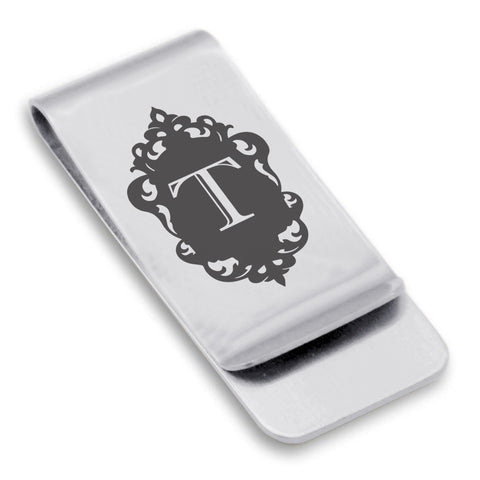 Stainless Steel Royal Crest Alphabet Letter T initial Classic Slim Money Clip