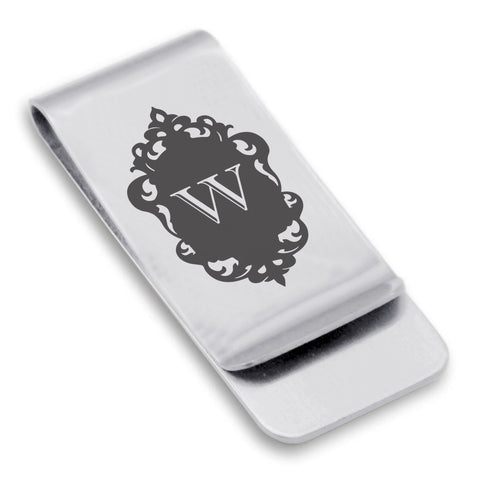 Stainless Steel Royal Crest Alphabet Letter W initial Classic Slim Money Clip