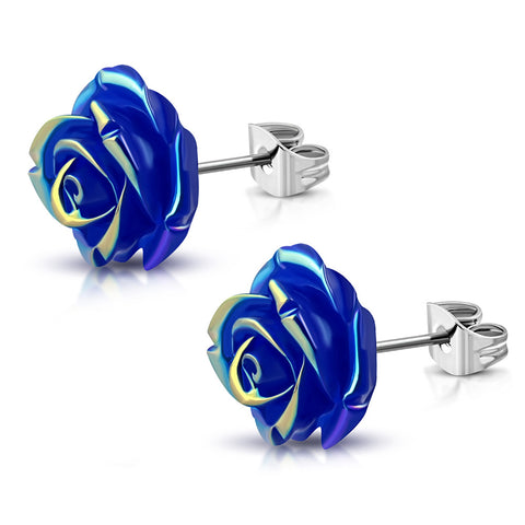 Stainless Steel Shimmer Resin Rose Flower Floral Stud Earrings - Comfort Zone Studios